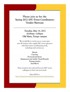 Special Events Vendor Showcase, May 15