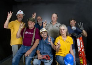 The Engineering Technical Services shop group came to the studio for a group photo.