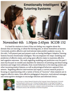 Emotionally Intelligent Tutoring, Nov. 6