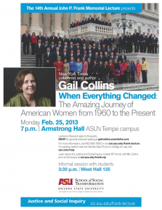 Gail Collins presents at the 14th Annual John P. Frank Lecture on February 25, 2013.