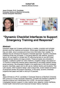 Join CIDSE for a discussion of dynamic checklists on January 11, 2013.