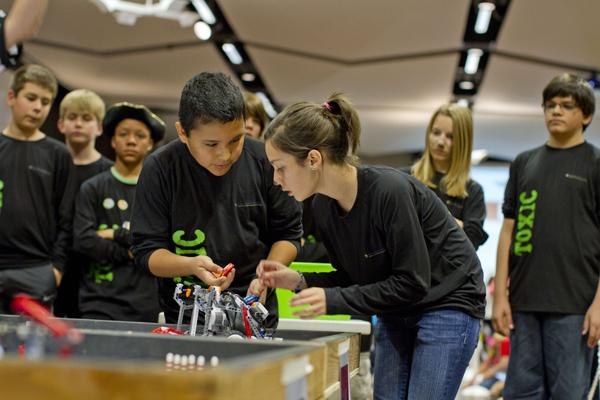 Team TOXIC at the Arizona FIRST LEGO League State Championship Tournament at Arizona State University. Photo: Jessica Slater/ASU