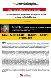Retsef Levi, Decision Systems Seminar, April 19