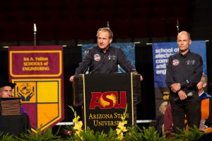 Solar Impulse pilots André Borschberg and Bertrand Piccard spoke to graduates at the Ira A. Fulton Schools of Engineering convocation. The team landed in Phoenix earlier in the week on the first leg of their flight across America in the first solar airplane capable of flying day and night without fuel. Photographer: Jessica Slater