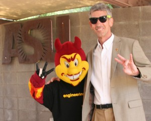 Sparky poses with Dean Paul Johnson.
