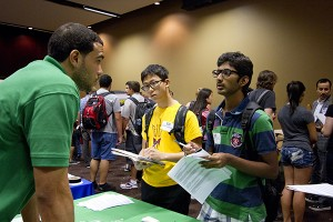 Students interview industry professionals at the 2012 Freshman Career Exploration Night.