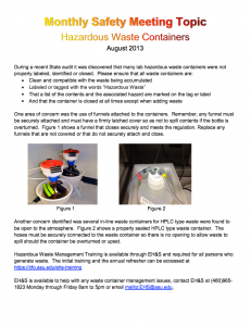 August safety topic: Hazardous Waste Containers