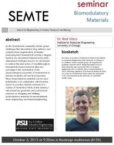 Bret Ulery seminar, Oct. 3, 2013, Biodesign Auditorium