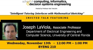 Joseph LaViola, Nov. 13, noon, Brickyard 210