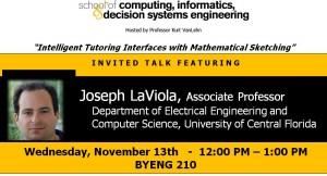 Joseph LaViola, Nov. 13, noon, Brickyard 210