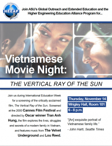 Vietnamese Movie Night, Nov. 14, 6-8 p.m., Wrigley Hall 101
