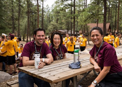 Volunteers take a break at camp