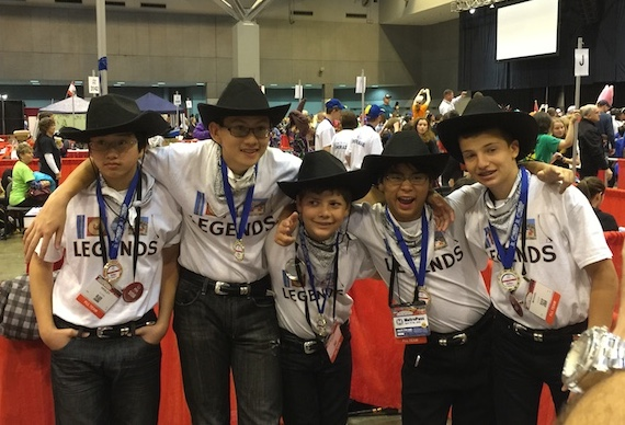 The Local Legends at the FIRST LEGO League World Festival. From left are Wesley Chiu (Grade 8), Alex Chiu (Grade 10), Josh Tint (Grade 6), Jeremy Wang (Grade 7) and Michael Gross (Grade 8).