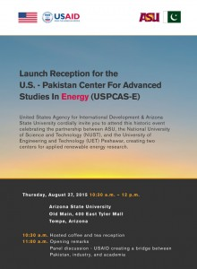 Invite to launch ceremony for U.S. – Pakistan Center for Advanced Studies in Energy.