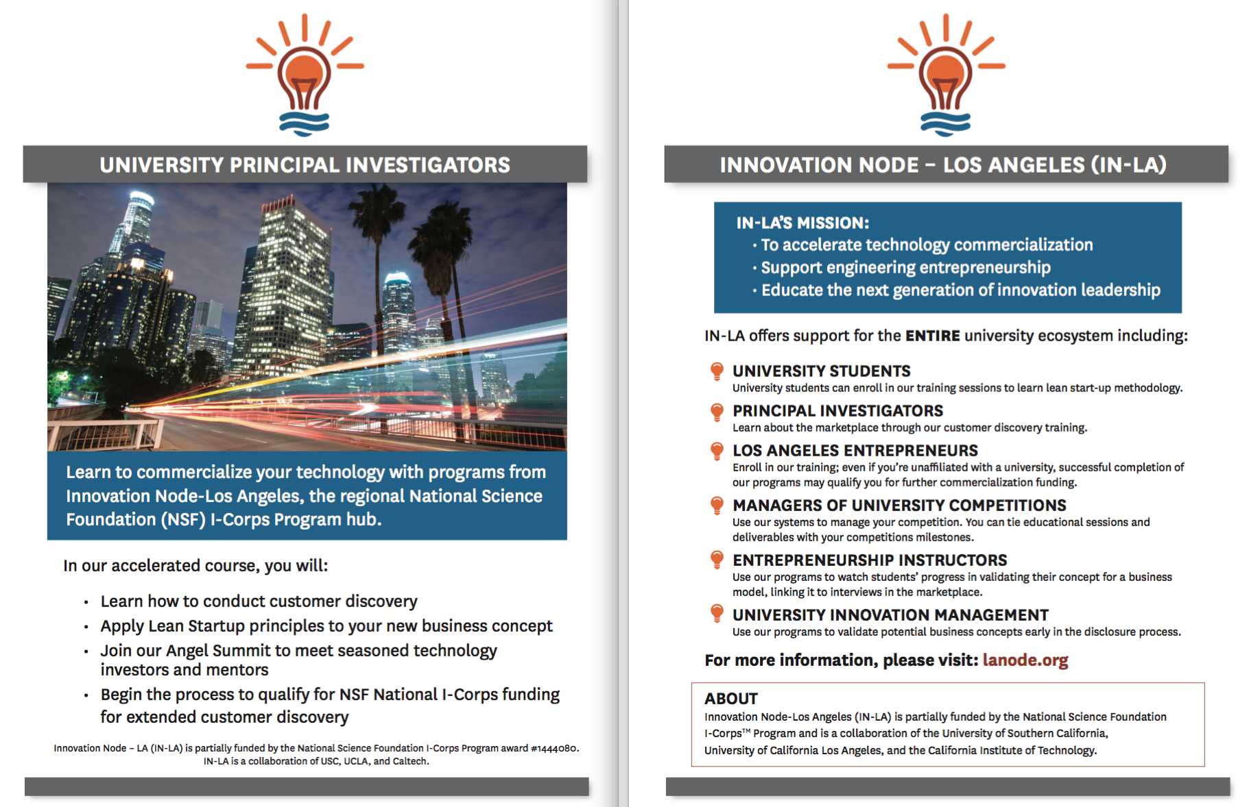 Attend the innovation node los angeles information for Los angeles innovation consultants