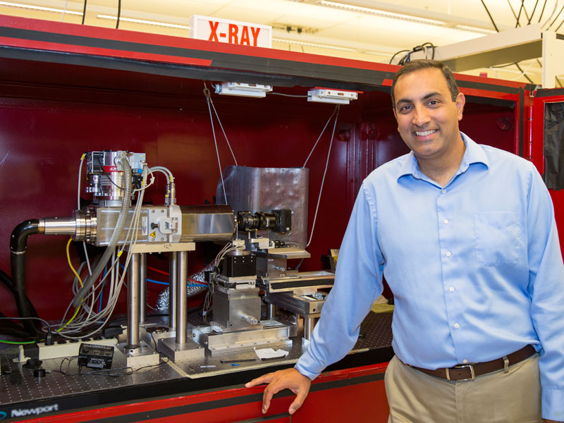 Nik Chawla and his lab's X-ray microtomography machine