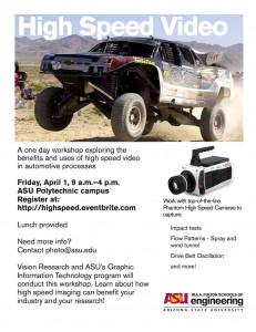 High Speed Cameras workshop flier
