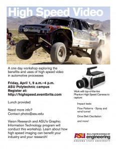 High Speed Cameras workshop flier