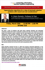 H. Edwin Romeijn Decision Systems Engineering Seminar Series Talk flier
