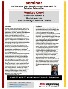 Venkat Krovi seminar flier