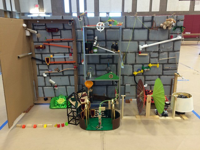 This machine was created by Technical Difficulties, a team from Veritas Homeschoolers for Division II. The machine won 1st Place in the Division II (14-18 yrs old) competition and also earned the Art and Technology STEAM Labs awards.
