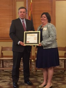 President Michael M. Crow and Stacey Bales at the President's Recognition Reception.