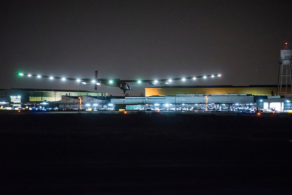 Phoenix, Arizona, May 2, 2016: Solar Impulse 2 successfully landed in Phoenix, Arizona with André Borschberg at the controls, completing the 10th leg of the round-the-world journey. Departed from Abu Dhabi on March 9, 2015, the Round-the-World Solar Flight will take 500 flight hours and cover 35,000 km. Swiss founders and pilots, Bertrand Piccard and André Borschberg hope to demonstrate how pioneering spirit, innovation and clean technologies can change the world. The duo will take turns flying Solar Impulse 2, changing at each stop and will fly over the Arabian Sea, to India, to Myanmar, to China, across the Pacific Ocean, to the United States, over the Atlantic Ocean to Southern Europe or Northern Africa before finishing the journey by returning to the initial departure point. Landings will be made every few days to switch pilots and organize public events for governments, schools and universities. Photo courtesy of Solar Impulse.