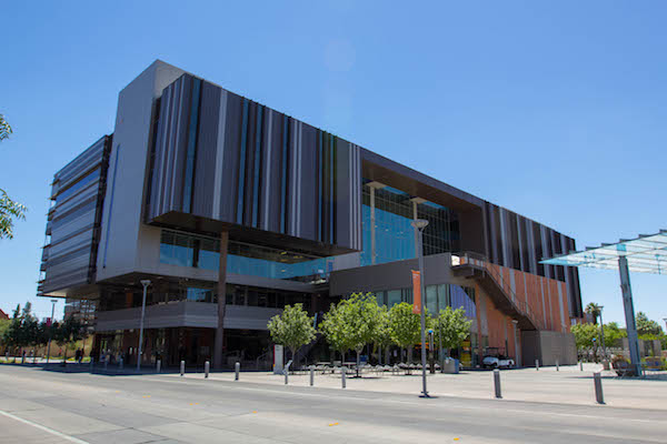 The College Avenue Commons building has been recognized for its architectural design, construction, energy efficiency and its environmental and sustainable features. Photographer: Jessica Hochreiter/ASU.
