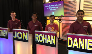 Four of the five Fulton Schools Maroon Academic Bowl team. Photo source: twitter.com/ASUAcademicBowl