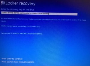 Bitlocker recovery screen on Windows computers.