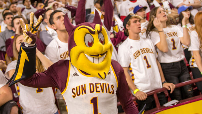 This is a photo of Sparky at a Sun Devil Basketball game