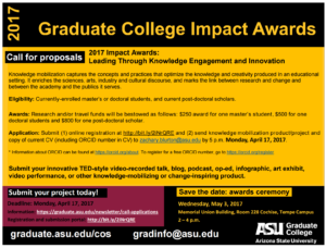 This is a flier for the Graduate College Impact Awards