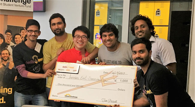 This photo shows the winners of a Devils Invent challenge