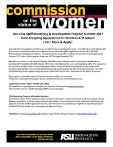 This is a flier for the ASU Commission on the Status of Women Staff Mentoring and Development Program 2017