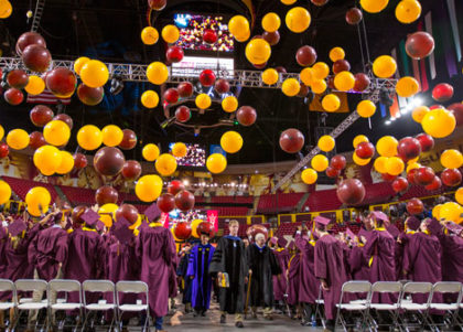 The balloon drop at Convocation.