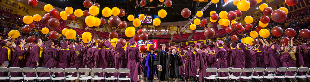 This photo shows the balloon drop at convocation.
