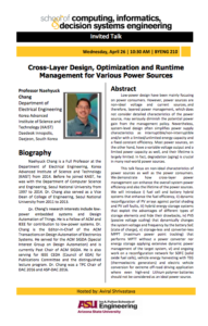 Flier for Cross-Layer Design, Optimization and Runtime Management for Various Power Sources, April 26