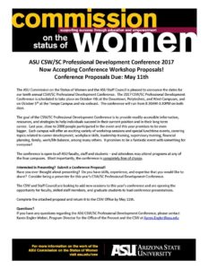 ASU CSW/SC Professional Development Conference 2017 call for workshop proposals flier