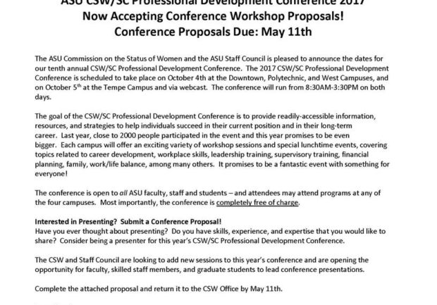 Submit Proposals For The Asu Cswsc Professional Development