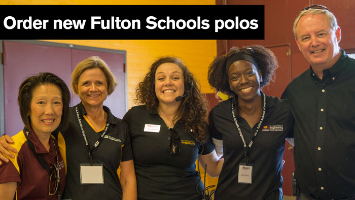 Group photo of Fulton Schools staff with the caption: Order new Fulton Schools polos