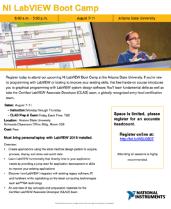 NI LabVIEW Boot Camp flier