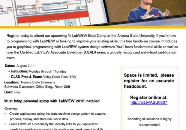 Register for National Instruments\' LabVIEW Boot Camp, August 7–11 |
