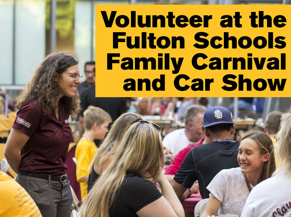 "Photo of woman talking to a table of people with text ""Volunteer at the Fulton Schools Family Carnival and Car Show"