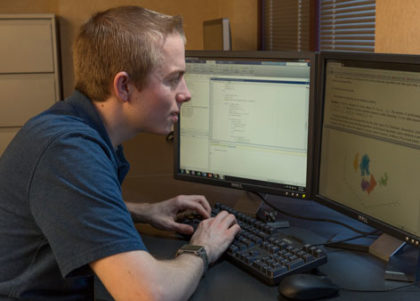 A student works at a computer