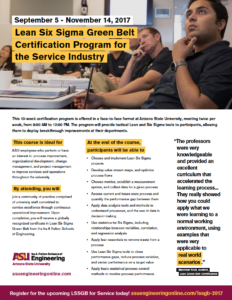 Lean Six Sigma Green Belt program flier