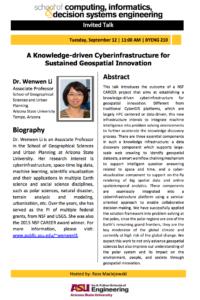 Wenwen Li cyberinfrastructure seminar flier