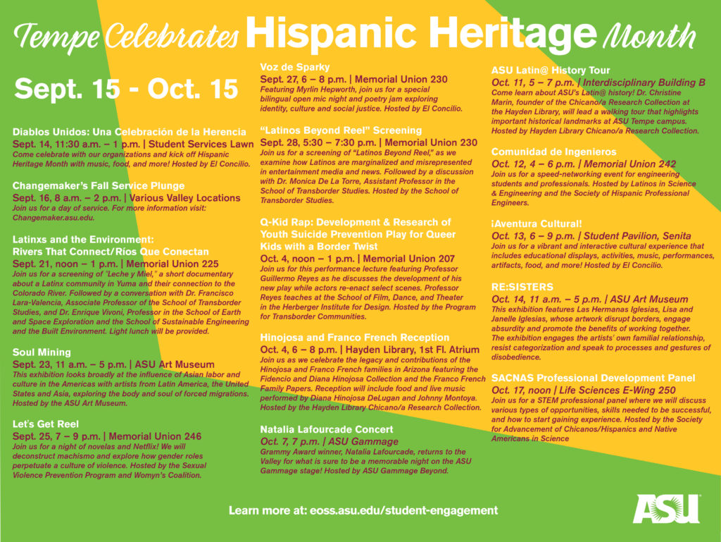Schedule of Tempe campus Hispanic Heritage Month events.
