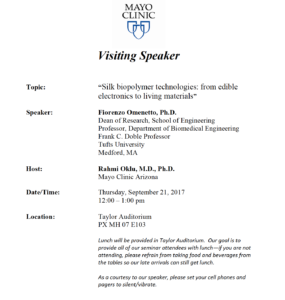 Mayo Clinic biopolymer visiting speaker seminar flier