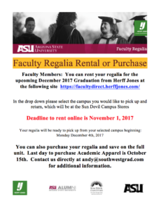 Faculty regalia rentals and purchases information from Herff Jones