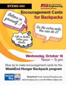 Encouragement cards for WeekEnd Hunger Backpack program event, October 18